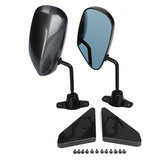 1 Set Universal Manual Adjustment Style Koolstofvezel Side Car Mirror Carbon Blue Surface_