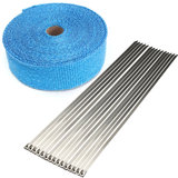 15m Exhaust Pipe Heat Wrap Manifold Header Insulating Wrap Roll Tape with 15 Ties_