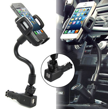 2 USB Ports Car Charger Stand Mount Holder For iPhone 5 5S 5C
