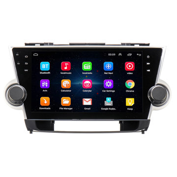 10.2 Inch voor Android 8.1 Auto Stereo Radio Quad Core 1 GB + 16 GB Touchscreen GPS WiFi voor Toyota Highlander 2009-2013