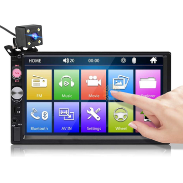 7023B 7 Inch 2 DIN autoradio radio HD Touchscreen Multimedia MP5-speler FM bluetooth TF USB met achteruitrijcamera