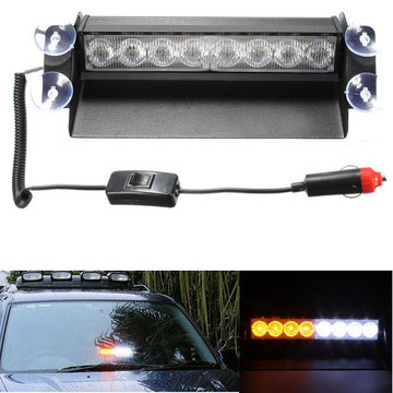 8 LED Car Strobe Flash Waarschuwingslicht Emergency Sucker Wind Shield White & Amber
