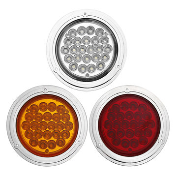 4 Inch 24 V Chrome 24LED Auto Reverse Indicator Achterlicht Lamp Ronde voor Truck Trailer Boot