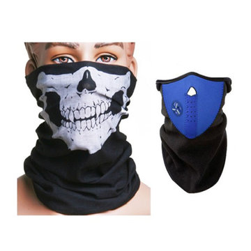 Motorcycle Face Neck Ski Warm Mask Blauw en Schedel Face Mask Sjaal