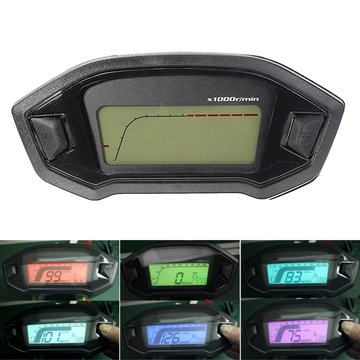 Motorcycle Digital Speedometer Motor LCD Odometer Seven Backlight