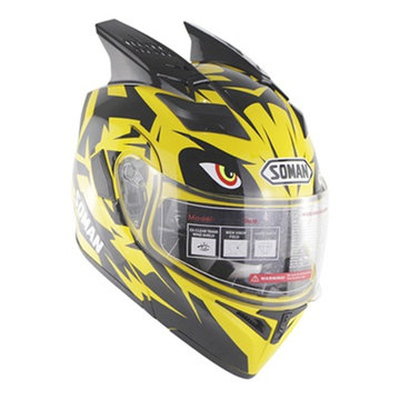 SOMAN Motorcycle Full Face Helm Dual Lens Uv-antikras met hoorn