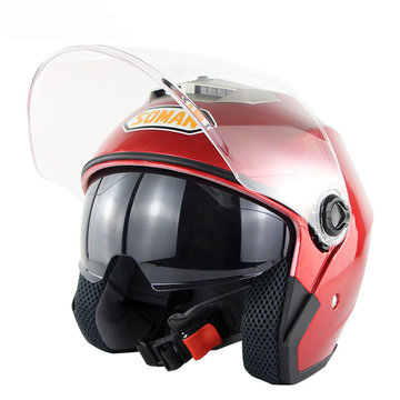 Motorcycle Scooter Half Face Helm Dual Lens Riding Beschermend Ademend Anti-UV
