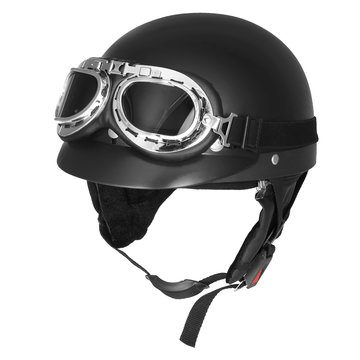 Retro Matt Black Motorcycle Half Face Helm Biker Scooter Met Zonneklep UV-bril Cafe Racer