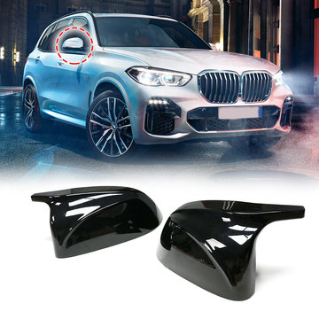Glossy Black Side Car Mirror Cover voor BMW X3 G01 2018 + voor BMW X4 G02 2018 + voor BMW X5 G05 2018 + voor BMW X7 G07 2018 +