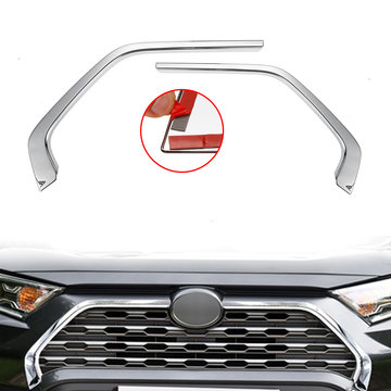 2 stks Chrome Front Grill Grille Decoratieve Cover Trim Strips Voor Toyota Rav4 2019