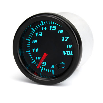 12V Universele 2 Inch 52 mm Auto Voltmeter 7 kleuren LED Display getint gezicht