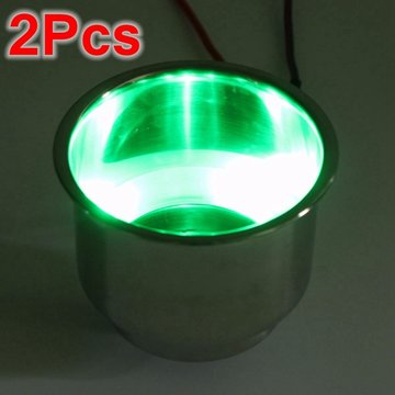 2PCS Green 8LEDs Stainless Steel Cup Drinkhouder Marine Boat Car Truck Camper