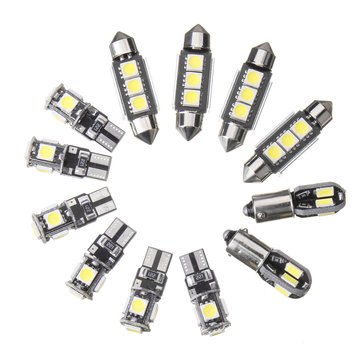 12 STKS Auto-interieur LED-verlichting Kit T10 BA9S Festoen Dome Lamp Wit voor BMW E36 3 Serie Convertible 1992-1998