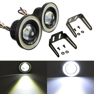 2 stuks 3,5 inch LED Mistlamp Projector Angel Eyes Super Lamp met COB Halo Ringen