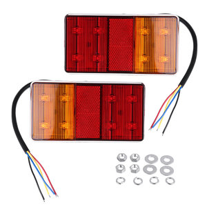2 STKS 8 LED Tail Brake Indicator Lights IP67 Waterdicht Rood Geel Kleur Universal Voor 12 V Truck Trailer