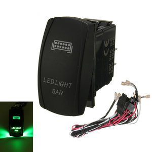 GROENE LED LICHTBAL ON / OFF LASER ROCKER SWITCH & RELAY FUSE WIRING HARNESS LOOM