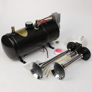Air Horn Kit Two-Trompet w / 110 PSI 12-Volt Compressor Tank & Meter